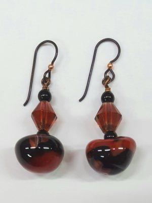 Red & Black Art Bead Earrings