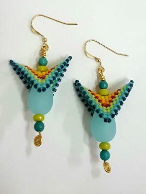 Rainbow Winged Earrings